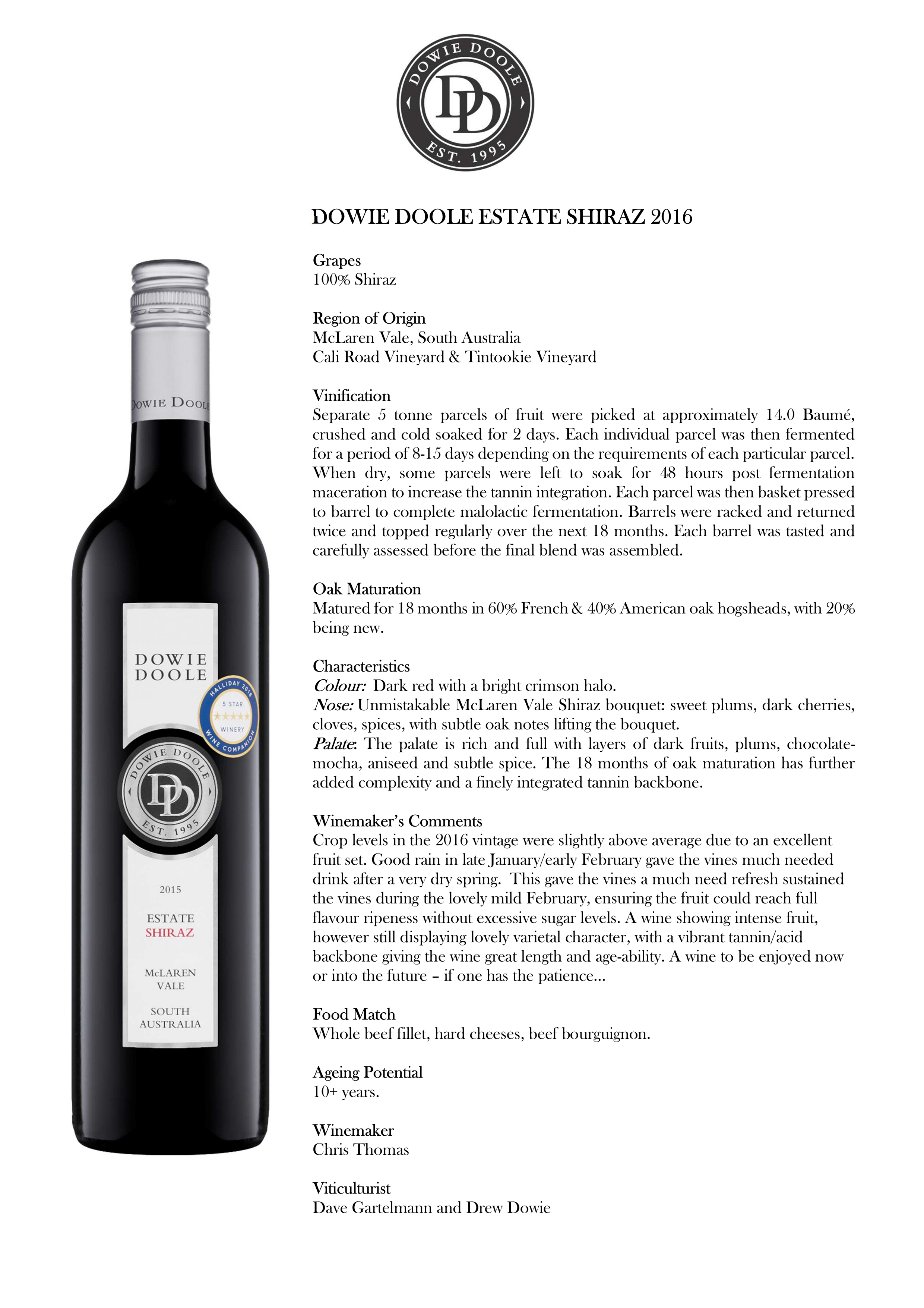 Dowie Doole Estate Shiraz Tasting Note