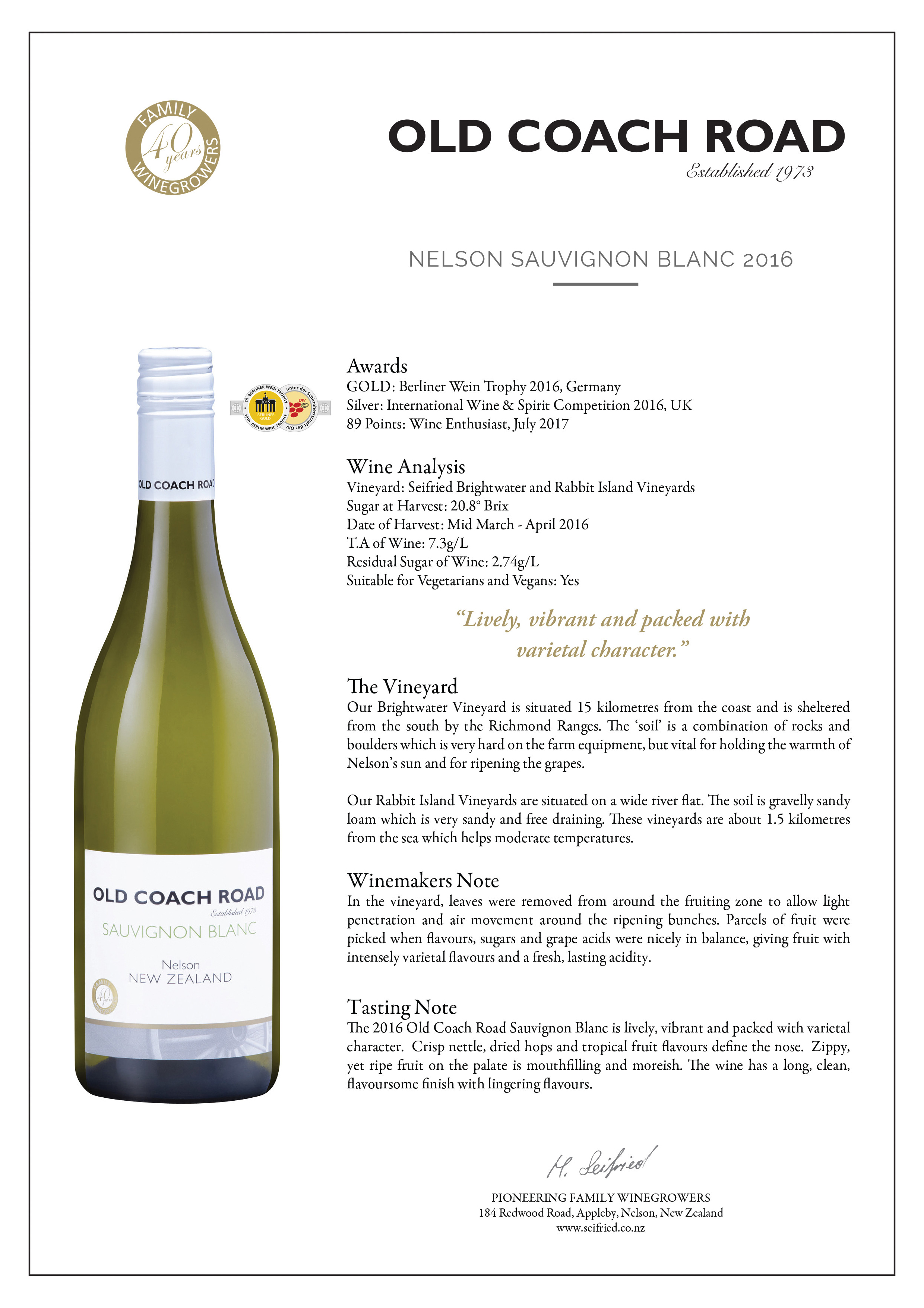 Old Couch Road Nelson Sauvignon Blanc Tasting Note