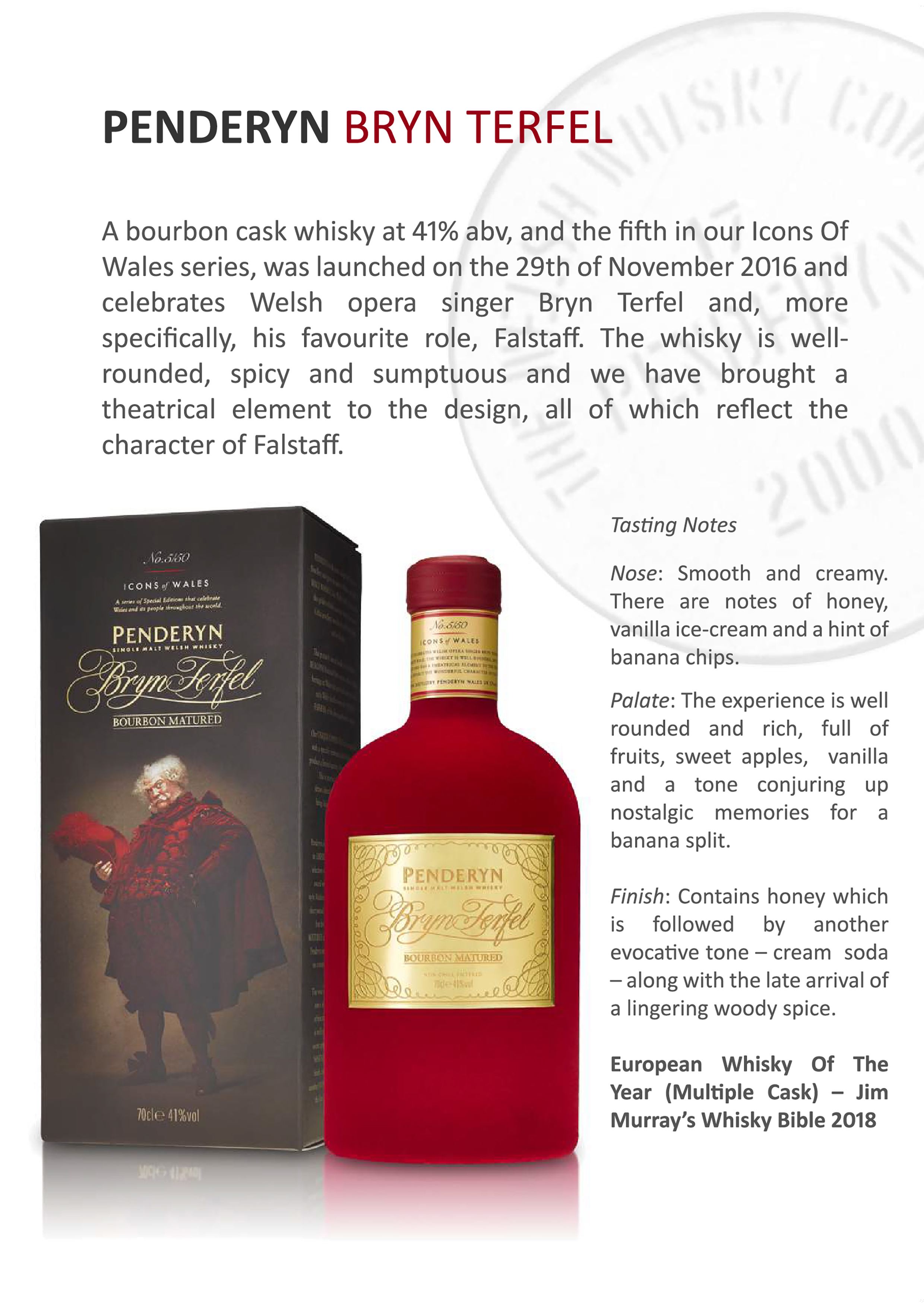 Penderyn Bryb Terfel Single Malt Welsh Whisky Tasting Note