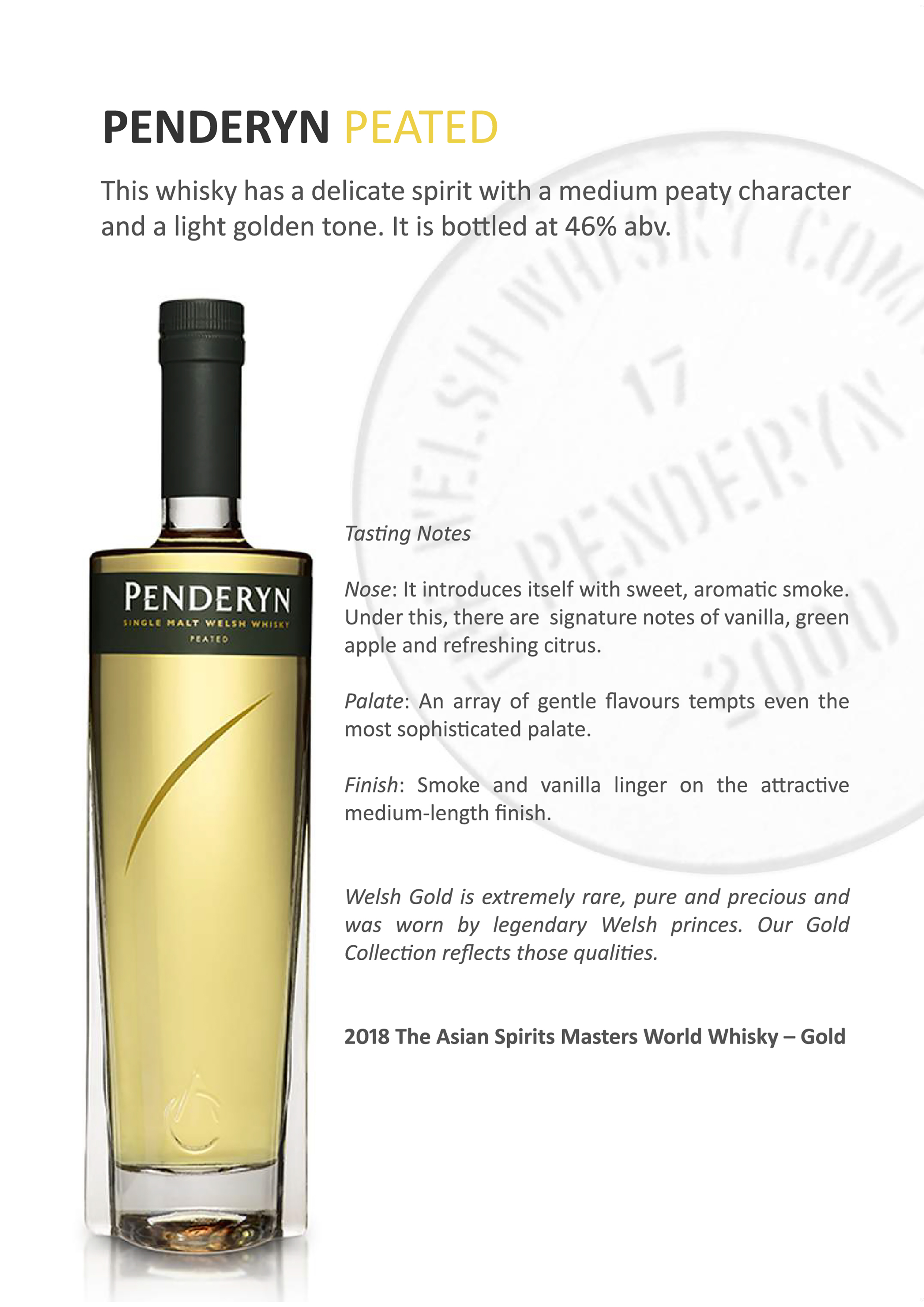 Penderyn Peated Single Malt Welsh Whisky Tasting Note