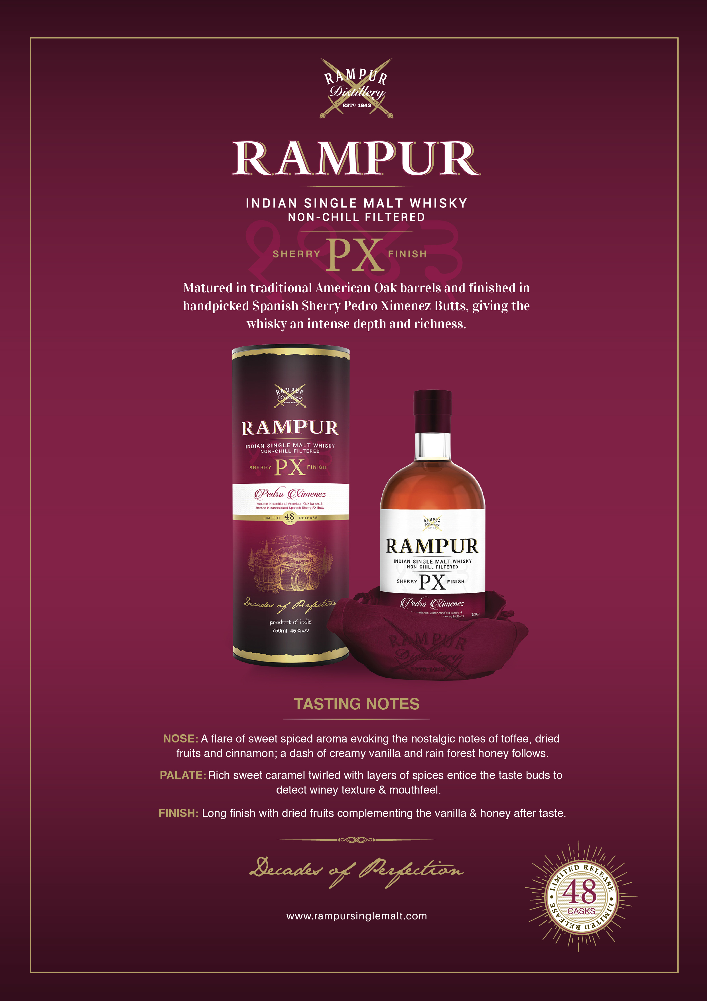 Rampur Indian Single Malt -  Sherry PX Finish Taste Note