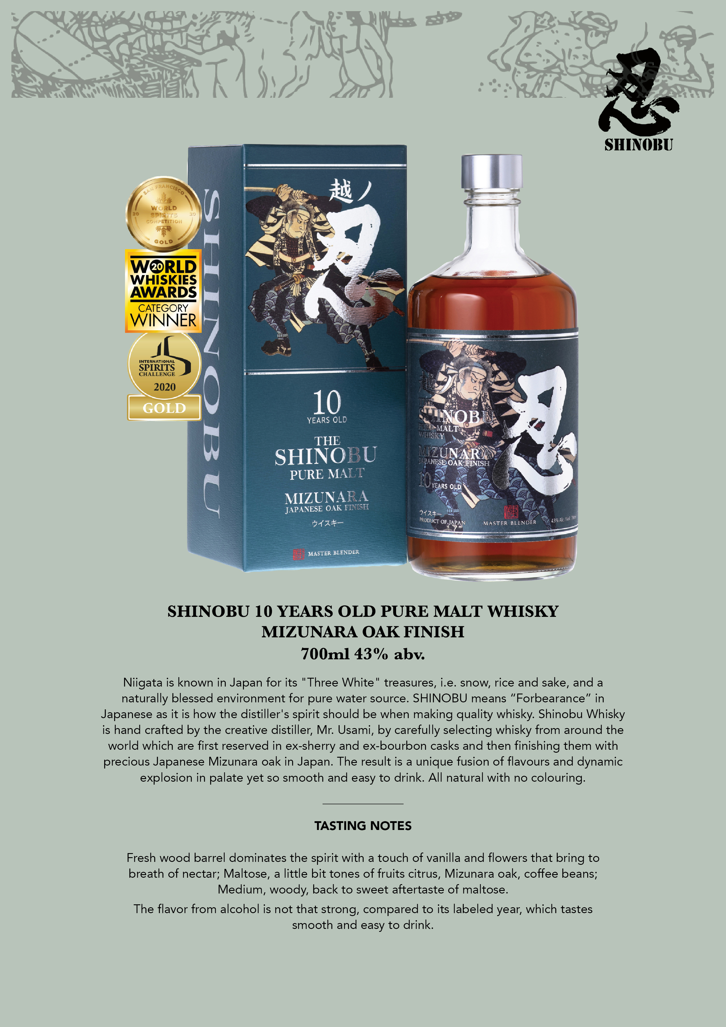 Shinobu 10 Years Old Pure Malt Tasting Note