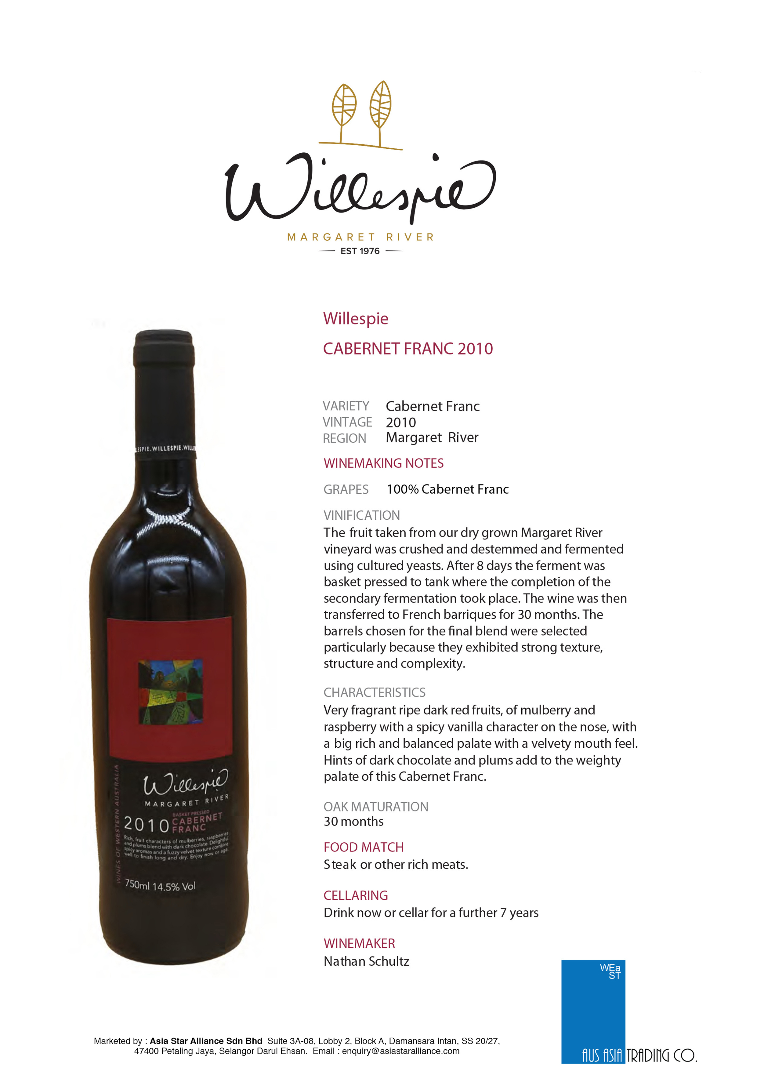 Willespie Cabernet Franc Tasting Note